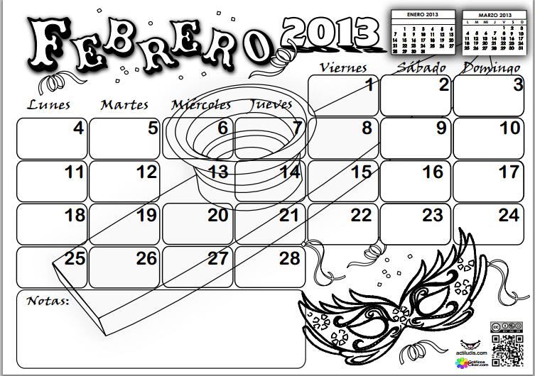CALENDARIO FEBRERO 2013 PARA COLOREAR
